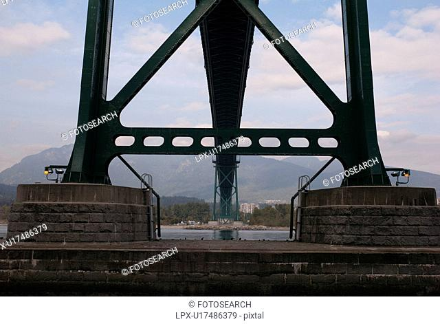 Underneath view of the Lions Gate Bridge in in Vancouver British Columbia, Canada