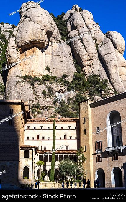 Mountain and basilica of Montserrat, Barcelona, Catalonia, Spain