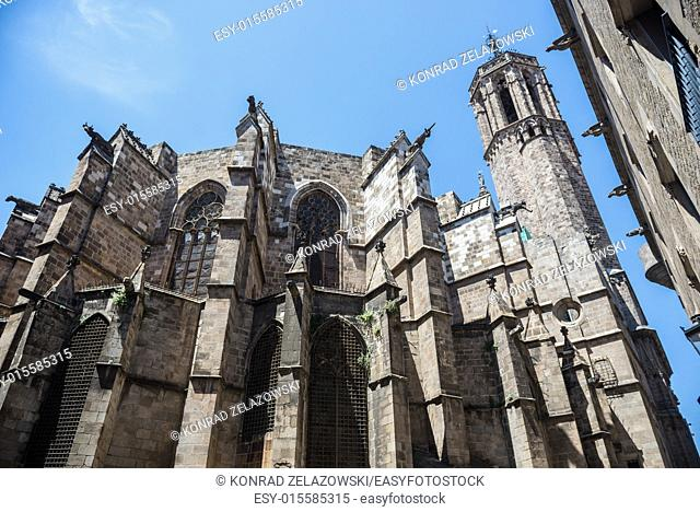 Cathedral of the Holy Cross and Saint Eulalia at Gothic Quarter in Barcelona, Spain