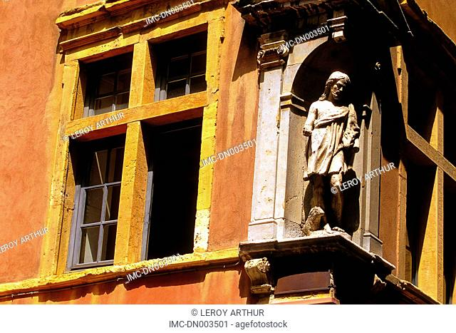France, Rhone Alpes, Lyon, architectural detail, statue