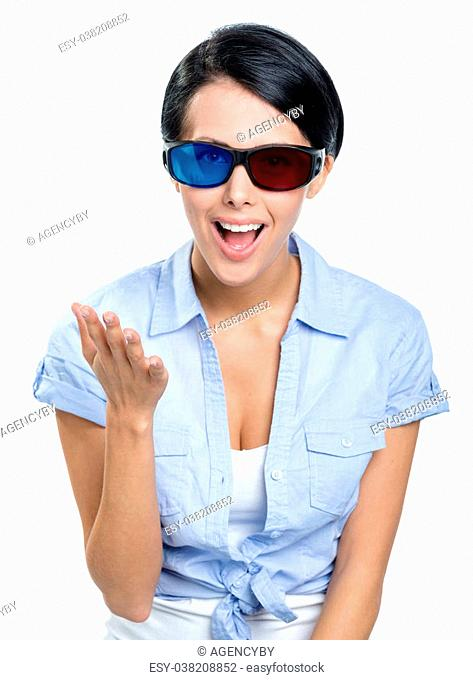 Excited girl in 3D glasses with black rim, isolated on white