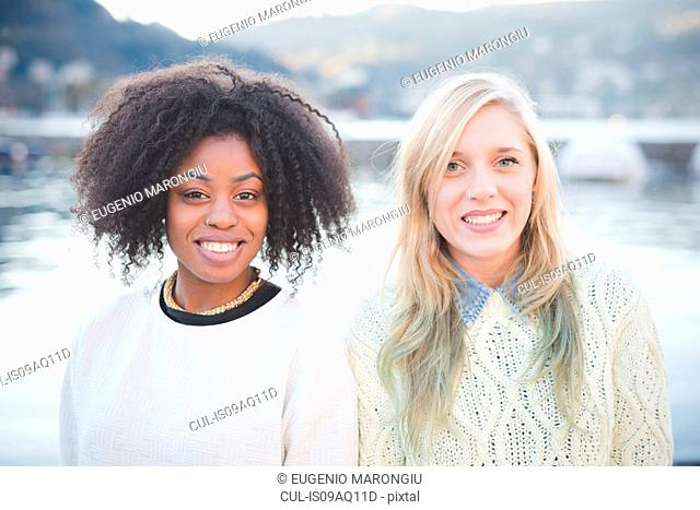 Portrait of two young female friends, Lake Como, Italy
