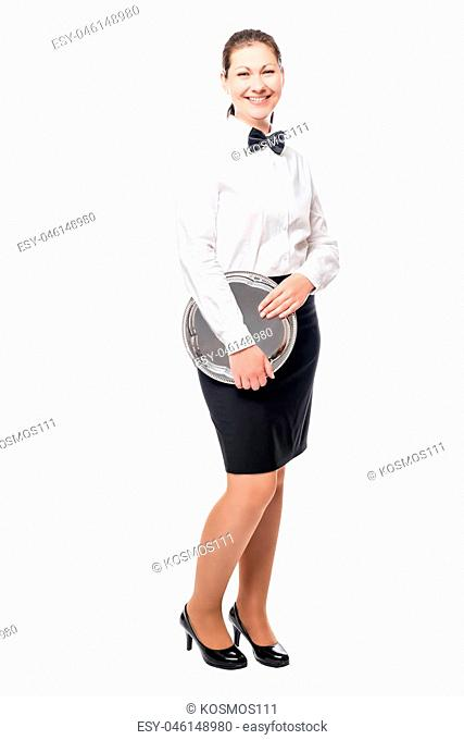 portrait of a waitress with a tray full length on white background