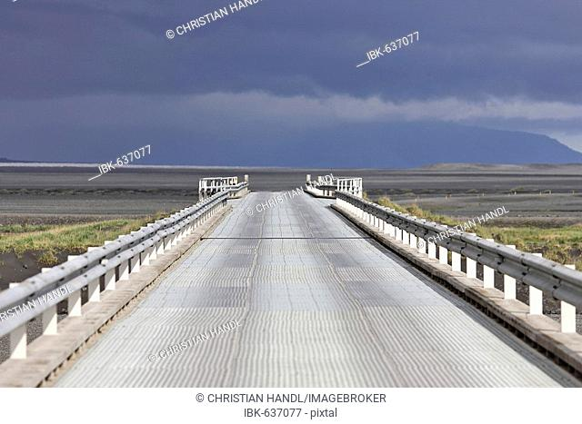Bridge going over Skeiðararsandur glacial outwash plain, southern coast of Iceland, Atlantic Ocean