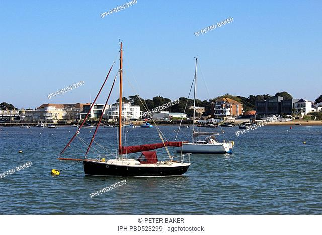 England Dorset Poole Yachts moored in Poole Harbour, the largest enclosed harbour in the world. Peter Baker