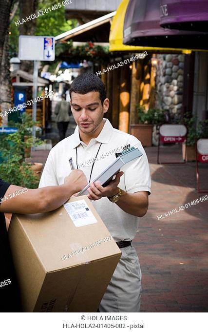 Delivery man making deliveries