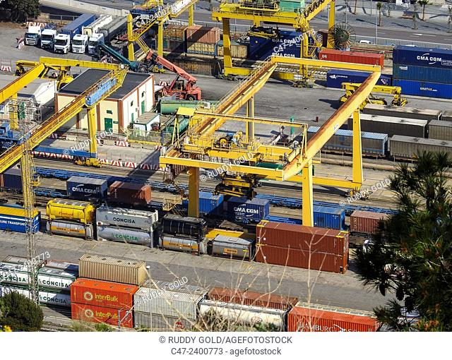 Container terminal at Barcelona port. Spain