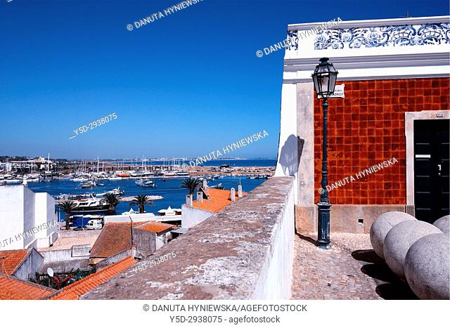 view for Bensafrim river and in far background Meia Praia beach from the old town of Lagos, Algarve, Portugal, Europe