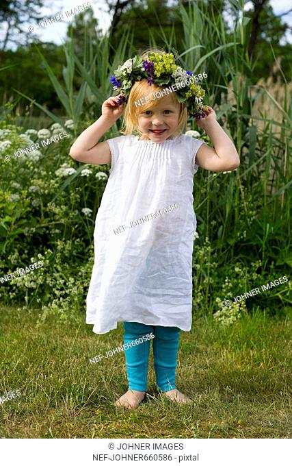 A little girl celebrating midsummer, Sweden