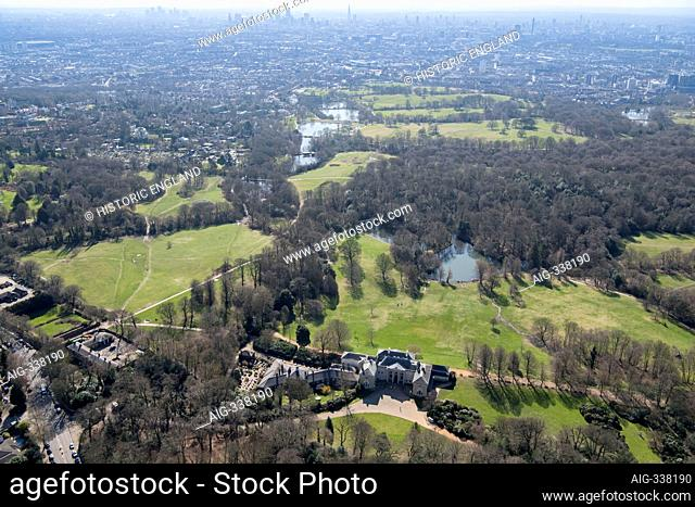 Looking south east over Kenwood House and Parliament Hill, London, 2018, UK. Aerial view
