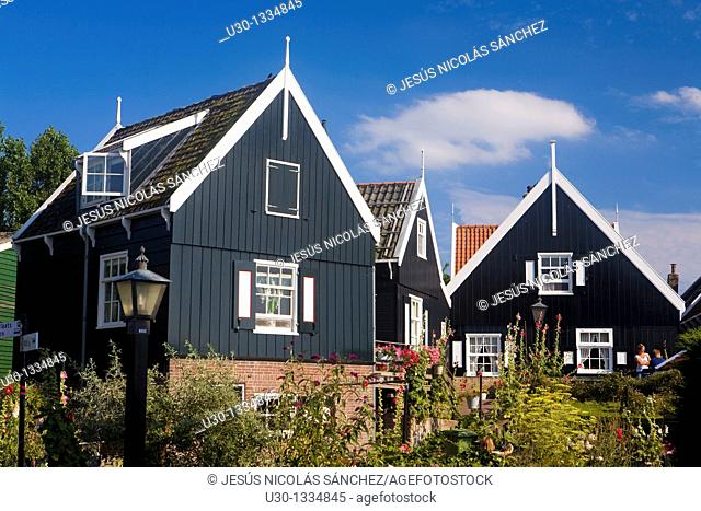 Typical dutch houses in the small town of Marken, in the province of North Holland  Holland