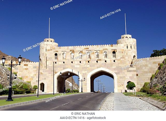 Bab Muscat Muscat Gate, one of four entrance gates to the old town of Muscat, the capital of the Sultanate of Oman