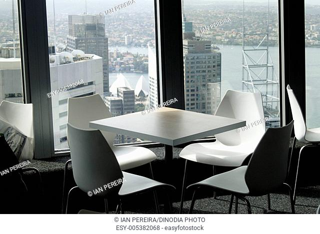 Restaurant table and chairs at top of Centre point ; Sydney ; Australia