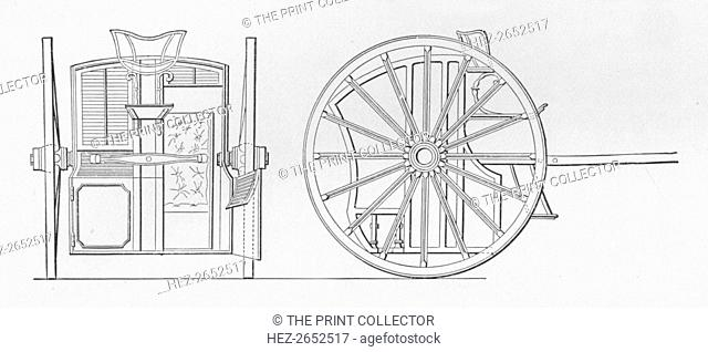 'Specification Drawings for Hansom's Cab, 1834', 1834, (1904). The hansom cab is a kind of horse-drawn carriage designed and patented in 1834 by Joseph Hansom