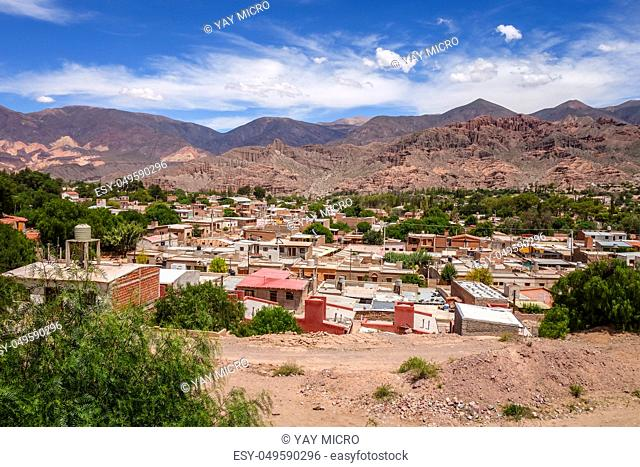 Tilcara city and quebrada mountains landscape, Jujuy, Argentina