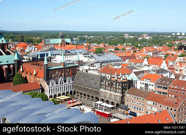 View of the old town from the Petrikirche, Lübeck, Schleswig-Holstein, Germany, Europe