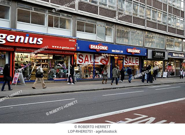 England, London, Tottenham Court Road, Shops selling electronic goods on Tottenham Court Road