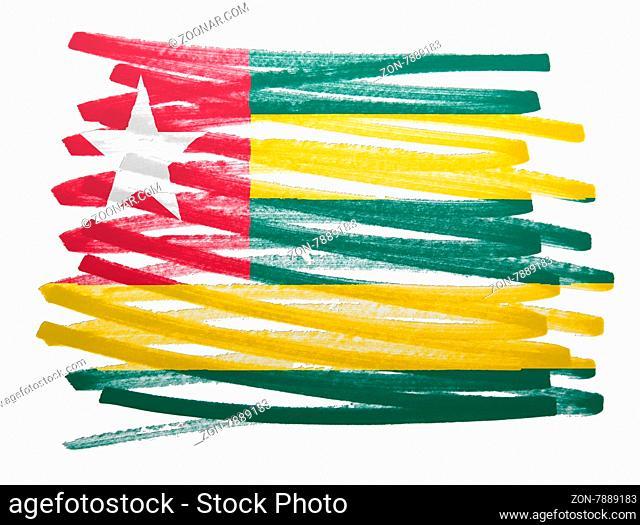 Flag illustration made with pen - Togo