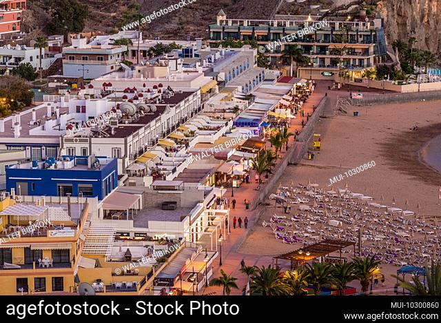 Spain, Canary Islands, Gran Canaria Island, Puerto de Mogan, town beach, high angle view, dusk
