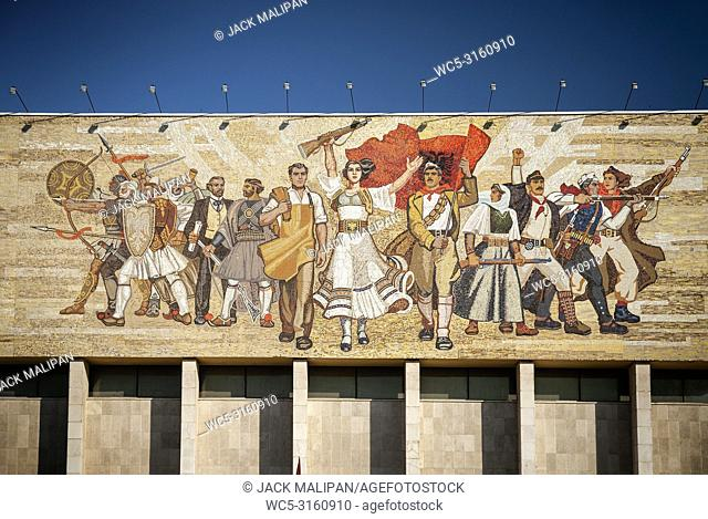 National Historical Museum landmark and famous 'The Albanians' socialist realist mosaic mural in skanderberg square of tirana albania