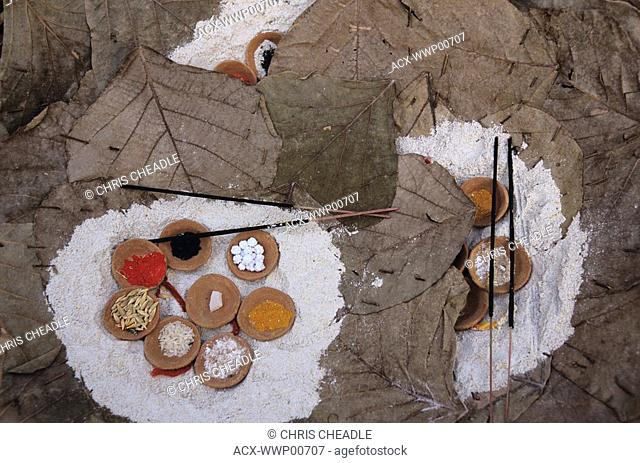 India, Varanasi, religious accessories for puja at ghats