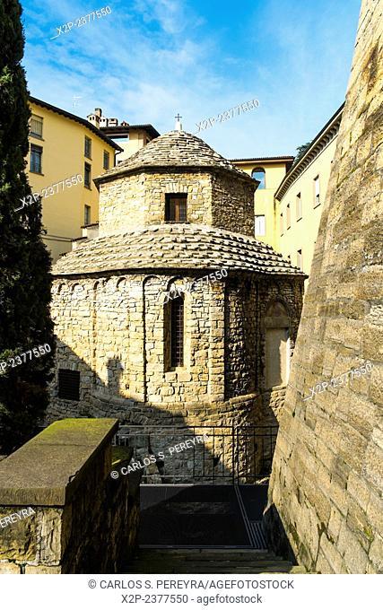 Religious architecture in Bergamo upper city, Italy