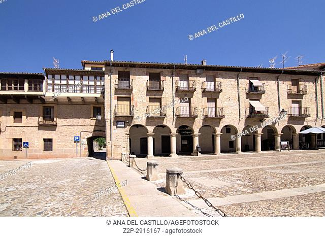 Main square in Siguenza is a medieval village in Guadalajara Castile La Mancha Spain on June 13, 2017
