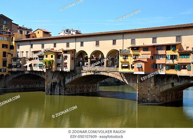 Ponte Vecchio, Florenz, brücke, ponte, vecchio, arno, toskana, italien, fluss, architektur, historisch, altstadt