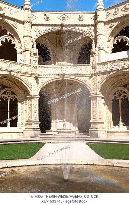 Courtyard of the two-storied cloister of the Mosteiro dos Jéronimos Monastery of the Hieronymites, Belem district, Lisbon, Portugal, Unesco World Heritage Site
