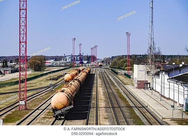 Mazeikiai, Lithuania. A tanker cargo train at the train station