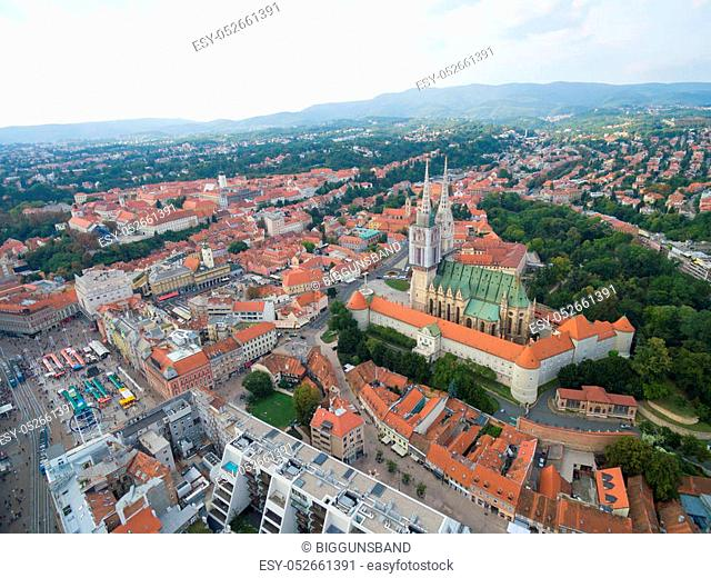 Aerial view at capital town of Croatia, Zagreb city main square, Europe
