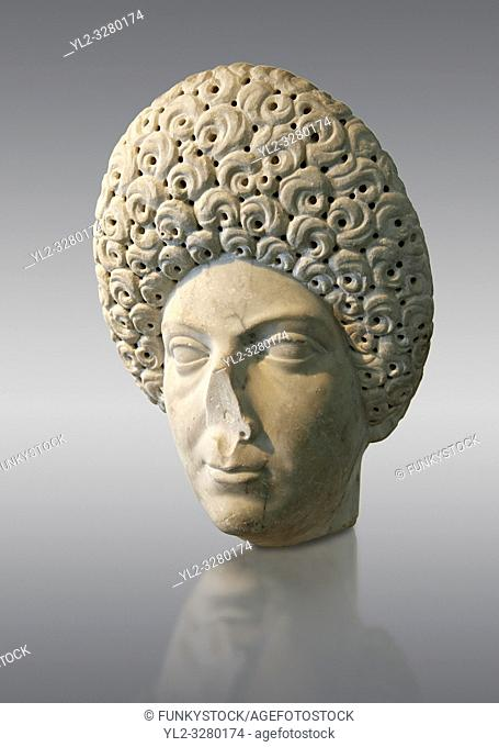Roman portrait bust of a flavian women possibly Domita, circa 69-96 AD excavated from Terracina. This portrait can be dated from the typical hairstyle made...