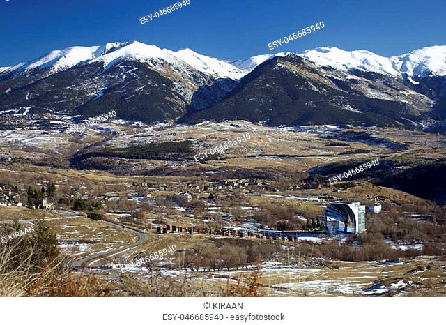 French Pyrenees. View of Odeillo solar furnace