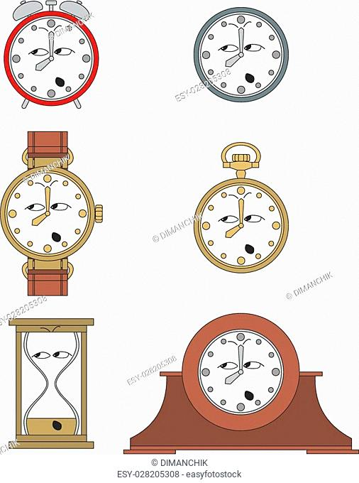Cartoon funny clock or watch face smiles illustration 014