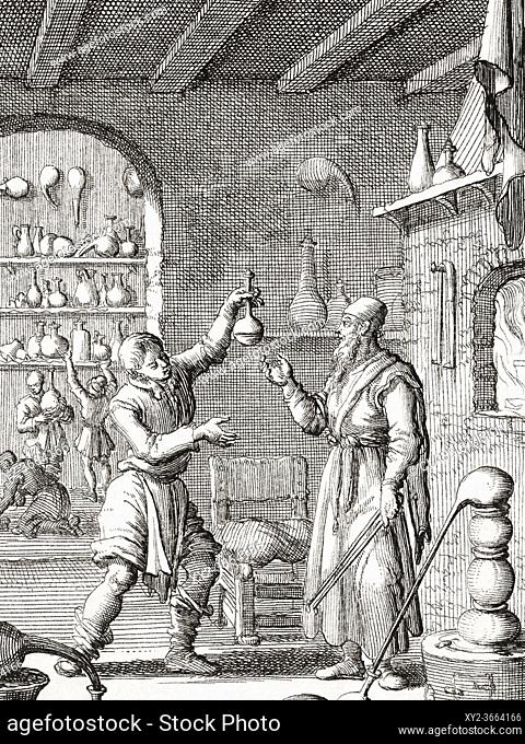 17th century chemists at work in their laboratory. After a work by Dutch illustrator and engraver Jan Luyken
