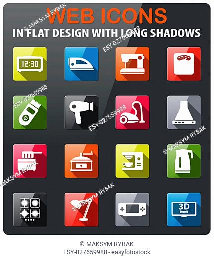 Home applicances icons set in flat design with long shadow