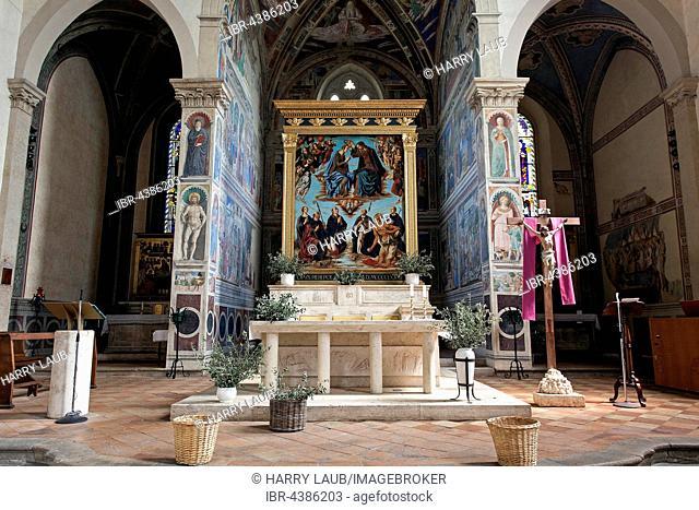 Altar in Augustinian monastery, chiesa di Sant'Agostino, interior, historic centre, San Gimignano, Province of Siena, Tuscany, Italy