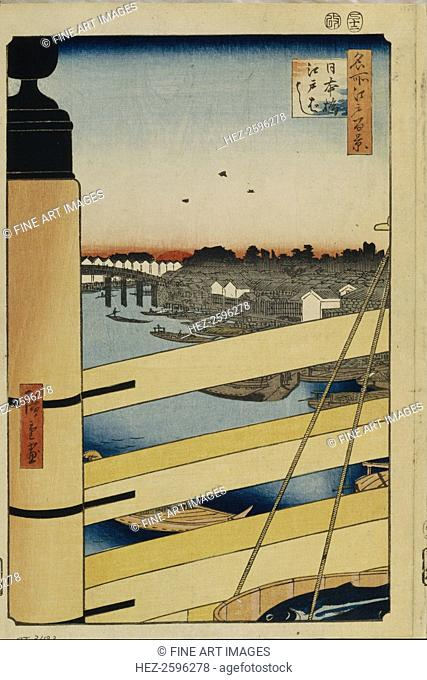 Nihonbashi and Edobashi Bridges (One Hundred Famous Views of Edo), 1856-1858. Found in the collection of the State Hermitage, St. Petersburg
