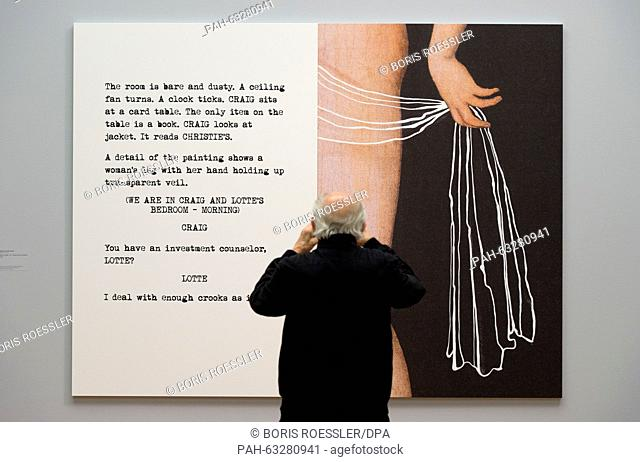A visitor stands in front of the piece '... Room is bare and dusty' by John Baldessari in the Staedel Museum in Frankfurt am Main, Germany, 04 November 2015