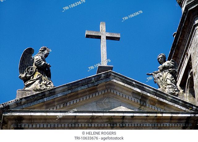Galicia Spain Santiago De Compostela Cross On Cathedral