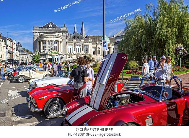 Oldtimers / classic cars in front of the Casino de Spa and brasserie in summer in the city Spa, Liège, Belgium