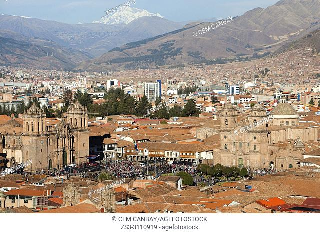 View from above to the Cathedral of Cusco, Iglesia De La Compania De Jesus-La Compania De Jesus Church at Plaza de Armas Square and to the buildings in the city...