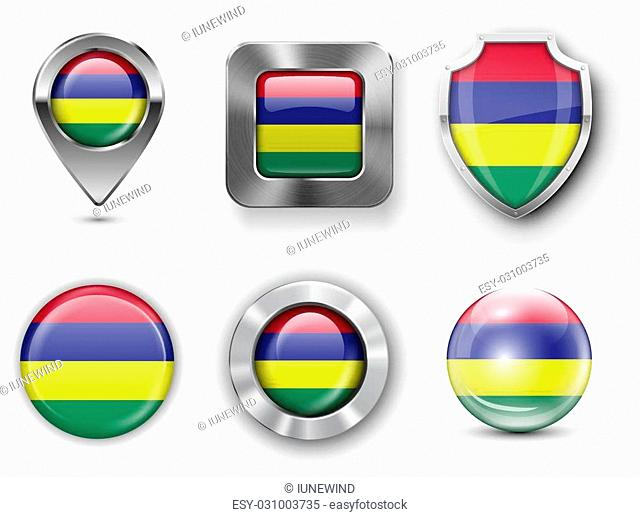 Mauritius Metal and Glass Flag Badges, Buttons, Map marker pin and Shields. Vector illustrations
