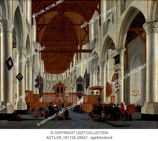Daniël de Blieck, Interior Laurenskerk, Rotterdam, painting footage wood paint oil paint, Oil on panel Recumbent rectangle Laurenskerk City Triangle Rotterdam...