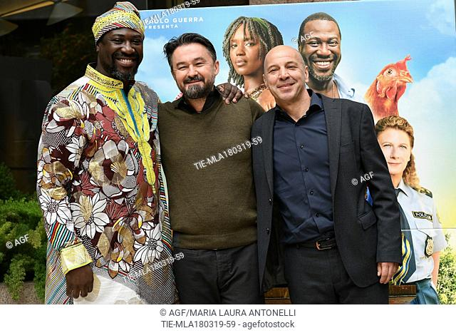 Jacky Ido, Enrico Lando, Aldo Baglio during 'Scappo a casa' film photocall, Rome, Italy 18/03/2019