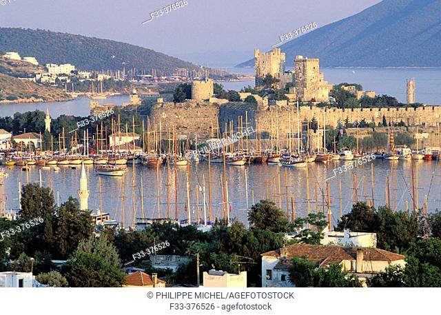 Sailing ships and the Castle of St. Peter. Bodrum. Turkey