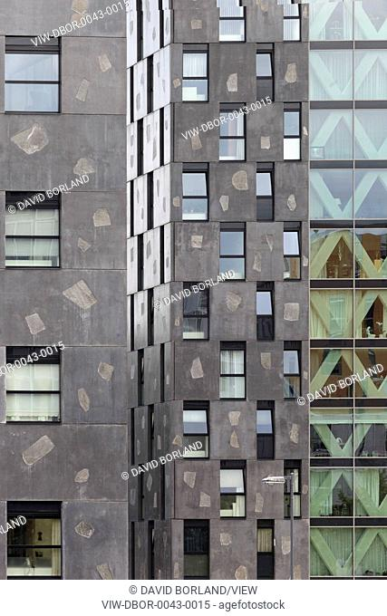 Chasse Park Housing, Breda, Netherlands. Architect: OMA, 2001. Detail of apartment block facades, designed by Xaveer de Geyter Architects within masterplan by...