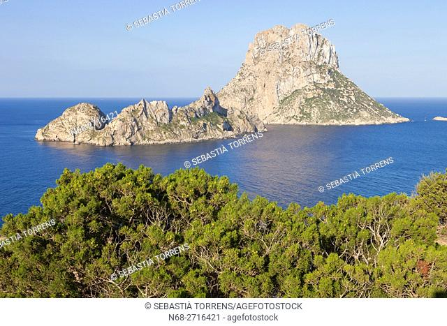Es Vedra and Es Vedranell as seen from Ibiza, Spain