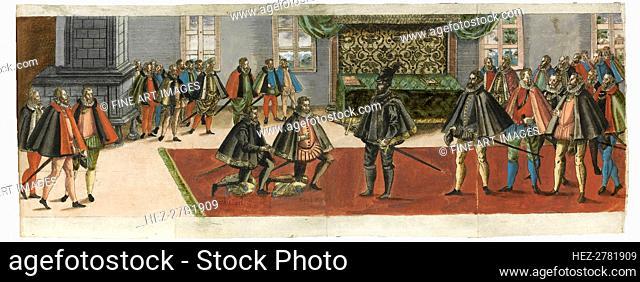 A knighting. From the Ordentliche Beschreibung mit was stattlichen Ceremonien.., 1587. Creator: Boys (Waiss), Anton (1530/50-after 1593)