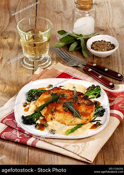 Pork escalope with bean purée and capers
